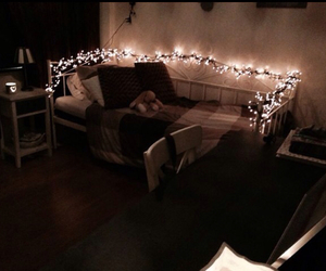 bedroom, christmas lights, and Dream image