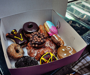 food, donuts, and doughnuts image