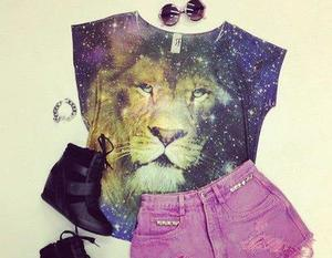 outfit, lion, and shorts image