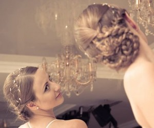bride, hairstyle, and fashion image