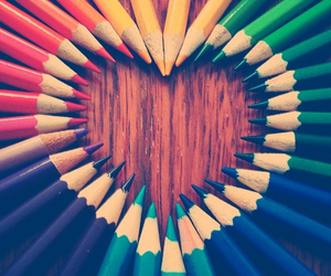 heart, pencil, and colors image