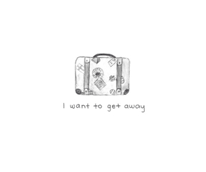 away, quote, and suitcase image