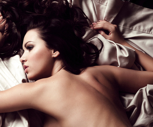 beds, brunette, and toppless image