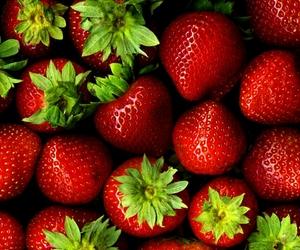 red, strawberries, and yum image