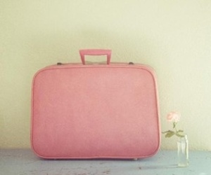 pink, suitcase, and flowers image