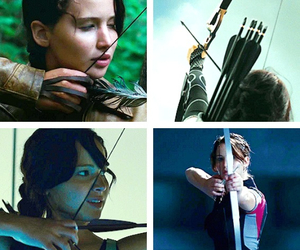 bow and arrow, hunger games, and catching fire image