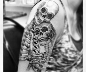 tattoo, skeleton, and skull image