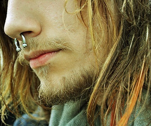 piercing, septum, and beard image