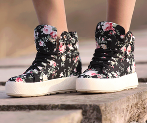shoes, flowers, and black image