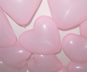balloon, hearts, and pale image