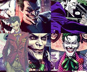 joker, batman, and Collage image