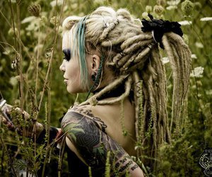 dreads, tattoo, and hair image