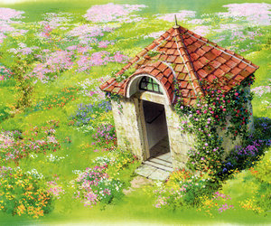 anime, howl's moving castle, and flowers image