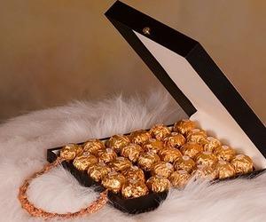 chocolate, gold, and ferrero rocher image