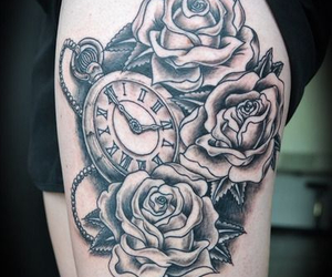 tattoo, clock, and rose image