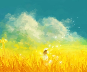 girl, field, and art image