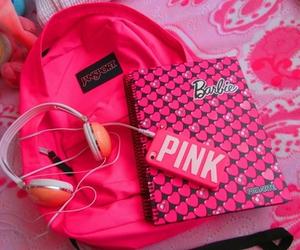 pink, barbie, and headphones image