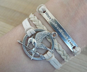 catching fire, hipster jewelry, and the hunger games bracelet image