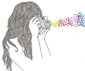girl, camera, and colors image