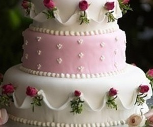 wedding cake, cake, and rose image