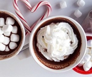 candy cane, christmas, and hot chocolate image