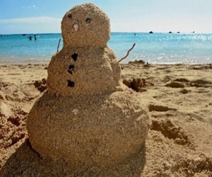 beach, sand, and snowman image