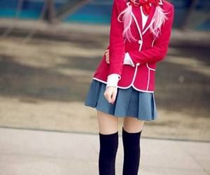 anime, guilty crown, and schoolgirl chic image