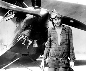amelia earhart and black and white image