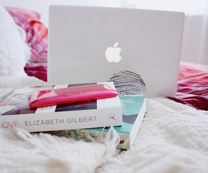 book, apple, and pink image