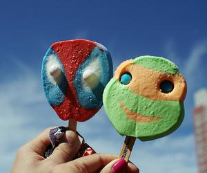 ice cream, spiderman, and food image