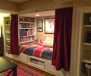 room, book, and bed image