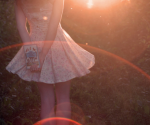 girl, dress, and book image