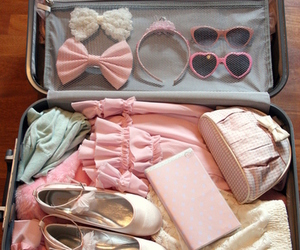 pink, travel, and bow image