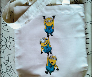 hand painted, minions, and tote bags image