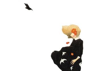 bird, girl, and illustration image