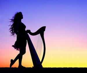 girl, harp, and sunset image