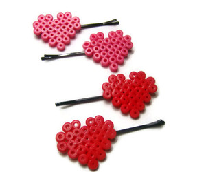 bobby pins, cute hair, and hearts image