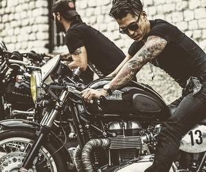 tattoo, boy, and bike image