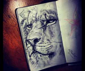 art, lion, and animal image