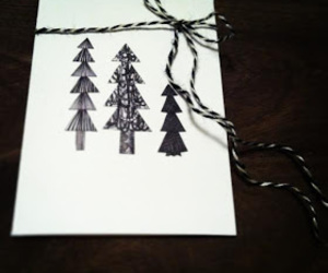 black and white, christmas card, and christmas tree image