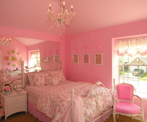 bed, pink, and it image