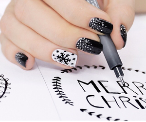 black, christmas, and nailart image