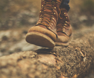 boots, log, and nature image