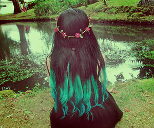 hair, green, and black image