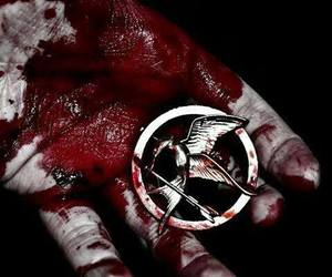 blood, the hunger games, and hunger games image