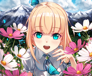 anime, flowers, and blonde image