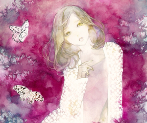 anime, butterflies, and flowers image