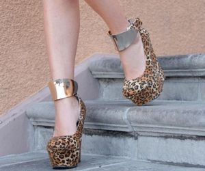 fall, heels, and leopard image