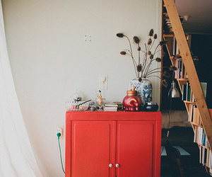book, red, and stairs image