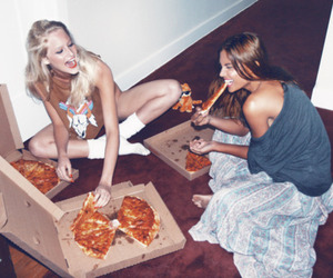 fun, girls, and pizza image